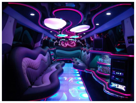 Chauffeur stretched Porsche Cayenne limousine hire interior in UK