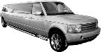 Chauffeur stretch silver Range Rover Vogue limo hire in Birmingham, Coventry, Dudley, Wolverhampton, Telford, Worcester, Walsall
